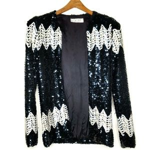 Vintage Gloria New York Black & White Sequi Jacket
